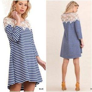 Umgee L Shirt Dress Crochet Striped Nautical